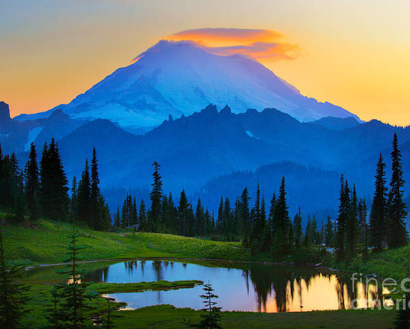 Mount Rainier Poster featuring the photograph Mount Rainier Goodnight by Inge Johnsson