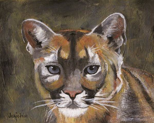 Black Poster featuring the painting Mountain Cat by Jamie Frier