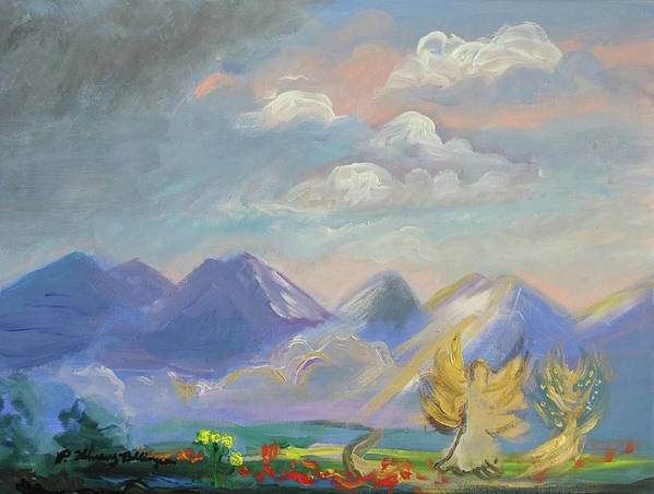 Acrylic Poster featuring the painting Mountain Dream by Patricia Kimsey Bollinger