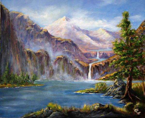 Landscapes Poster featuring the painting Mountain Falls by Thomas Restifo