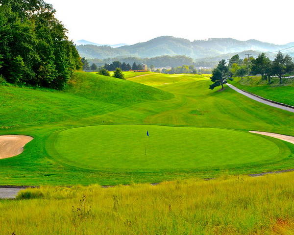Golf Poster featuring the photograph Mountain Golf by Frozen in Time Fine Art Photography