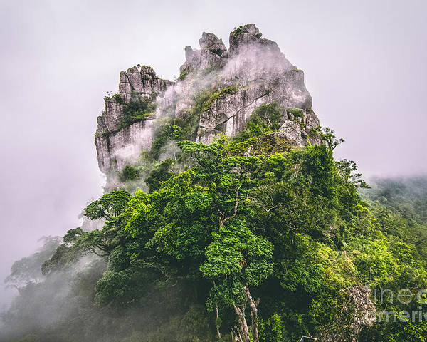 Mountain Peak Poster featuring the photograph Mountain In The Cloud And Fog by Vasek Rak