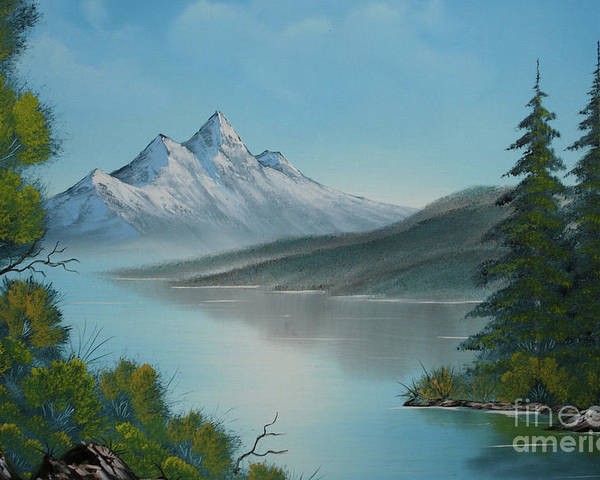 Mountain Lake Poster featuring the painting Mountain Lake Painting A La Bob Ross by Bruno Santoro