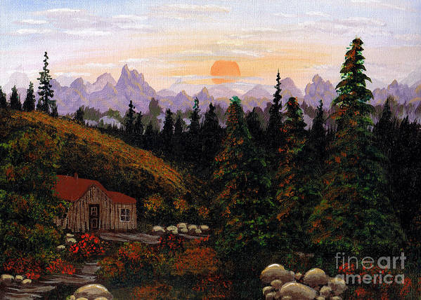 Barbara Griffin Poster featuring the painting Mountain View by Barbara Griffin