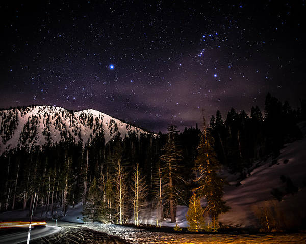 Astrophotography Poster featuring the photograph Mt. Rose Highway And Ski Resort At Night by Scott McGuire