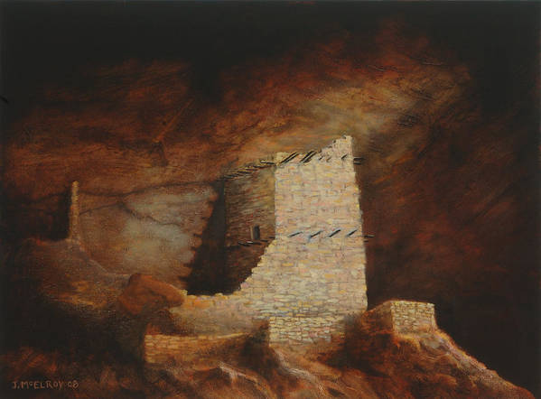 Anasazi Poster featuring the painting Mummy Cave by Jerry McElroy