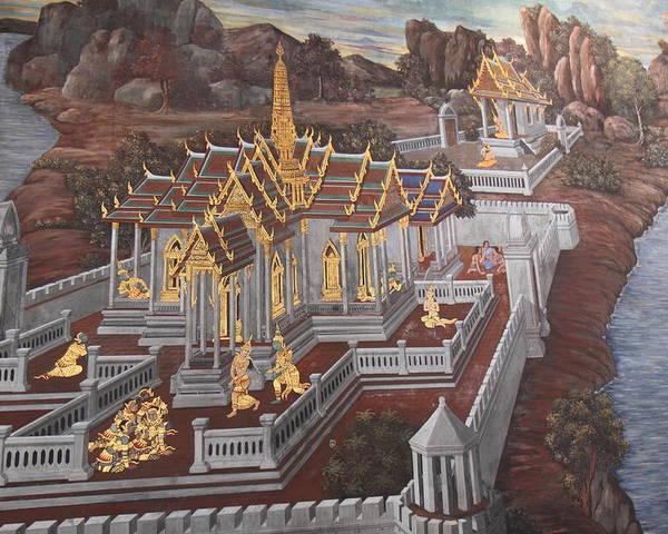 Bangkok Poster featuring the photograph Mural - Grand Palace In Bangkok Thailand - 01135 by DC Photographer