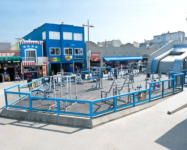 Venice Poster featuring the photograph Muscle Beach Gym In Venice California by Joe Belanger