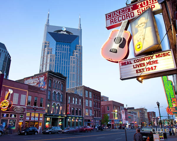 At&t Poster featuring the photograph Music City Usa by Brian Jannsen
