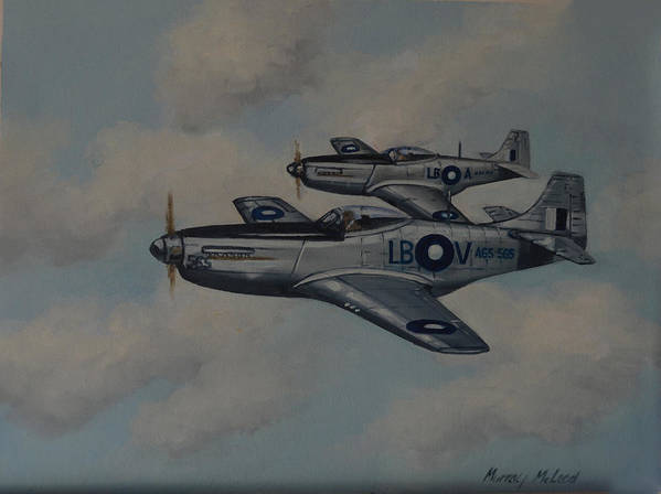 Aviation Art Poster featuring the painting Mustang Duo by Murray McLeod