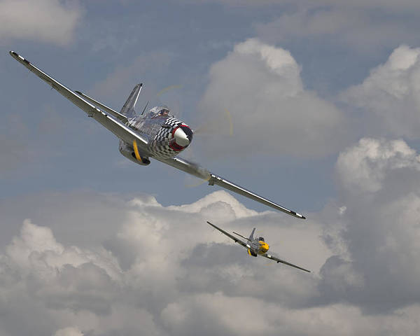 Aircraft Poster featuring the photograph Mustang Pair by Pat Speirs