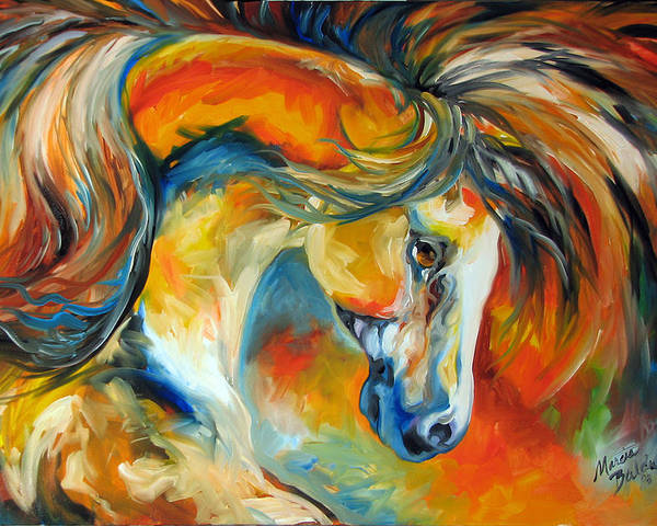 Equine Poster featuring the painting Mustang West by Marcia Baldwin