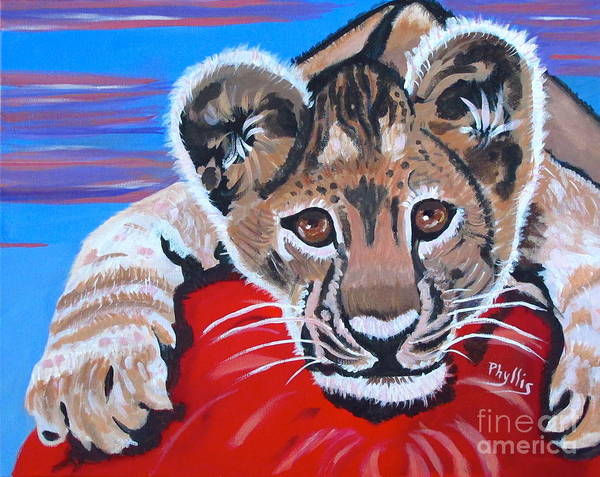 Lion Cub Poster featuring the painting My Ball by Phyllis Kaltenbach