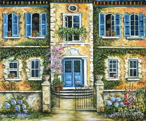 Blue Poster featuring the painting My French Villa by Marilyn Dunlap