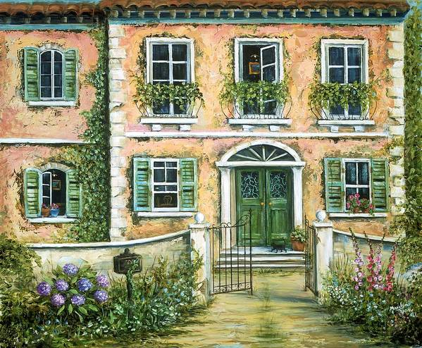 Europe Poster featuring the painting My Pink Italian Villa by Marilyn Dunlap