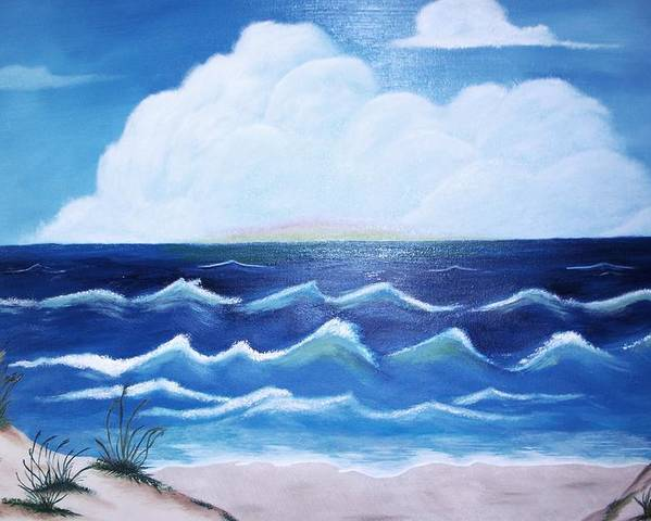 Ocean Poster featuring the painting My Private Beach by Dwayne Barnes