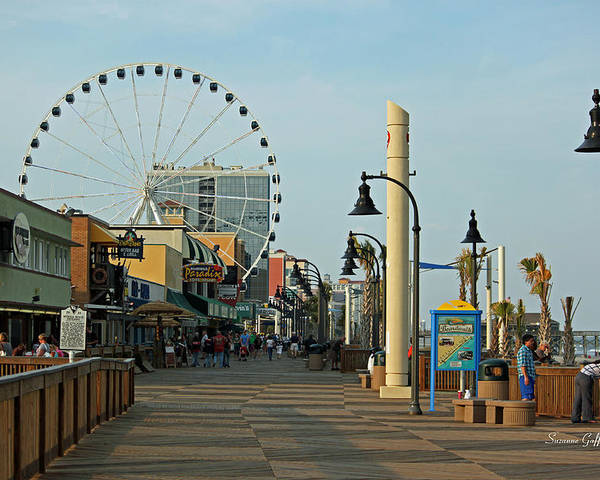 Myrtle Beach Poster featuring the photograph Myrtle Beach Boardwalk by Suzanne Gaff
