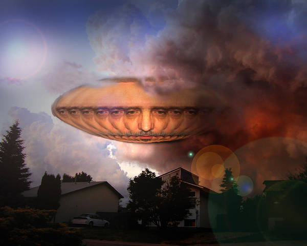 Surrealism Poster featuring the digital art Mystic Ufo by Otto Rapp