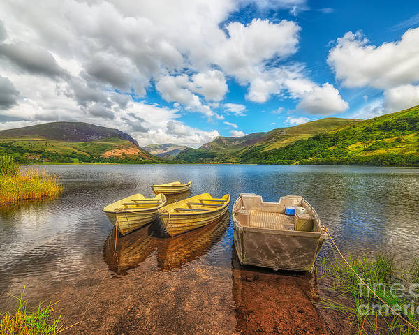 Hdr Poster featuring the photograph Nantlle Lake by Adrian Evans