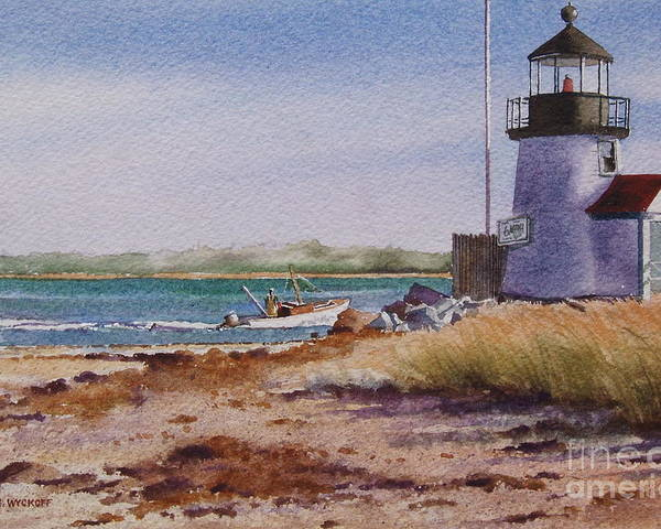 Lighthouse Poster featuring the painting Nantucket Winter Light by Karol Wyckoff