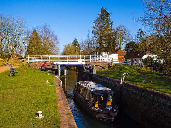 Avon Poster featuring the photograph Narrowboat In Lock by Mark Llewellyn