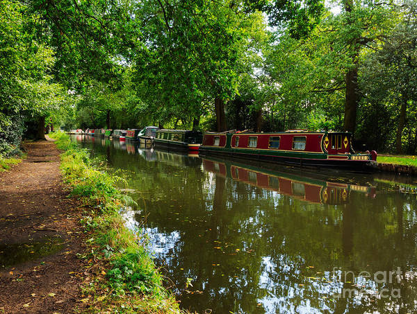 English Canal Poster featuring the photograph Narrowboats Moored On The Wey Navigation In Surrey by Louise Heusinkveld