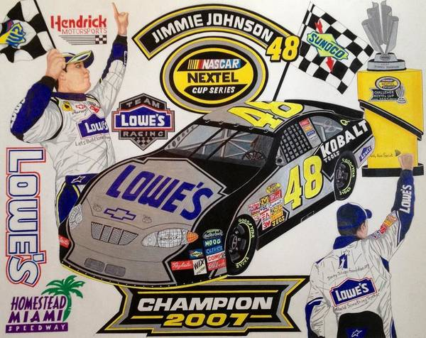 Nascar Art Poster featuring the drawing Nascar 2007 Champion by Rodney Sterling