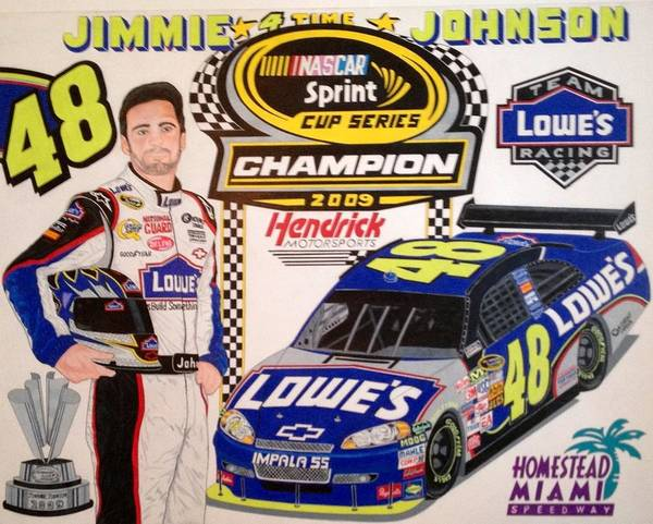 Nascar Art Poster featuring the drawing Nascar 2009 Champion by Rodney Sterling
