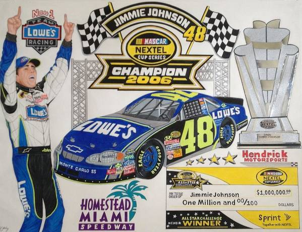 Nascar Art Poster featuring the drawing Nascar Champion 2006 by Rodney Sterling