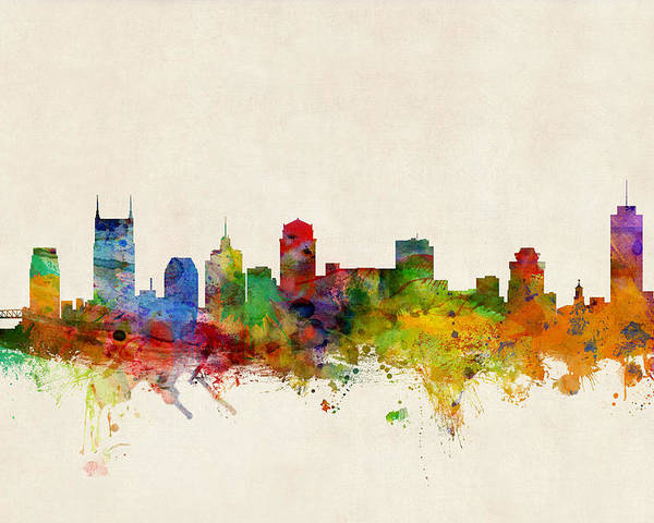 Watercolour Poster featuring the digital art Nashville Tennessee Skyline by Michael Tompsett