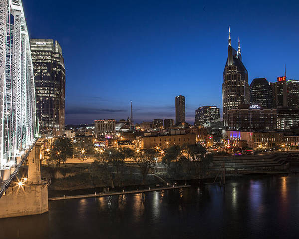 Nashville Poster featuring the photograph Nashville Tennessee With Pedestrian Bridge by John McGraw