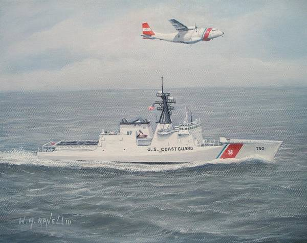 Marine Poster featuring the painting National Security Cutter Bertholf and HC-144A by William H RaVell III