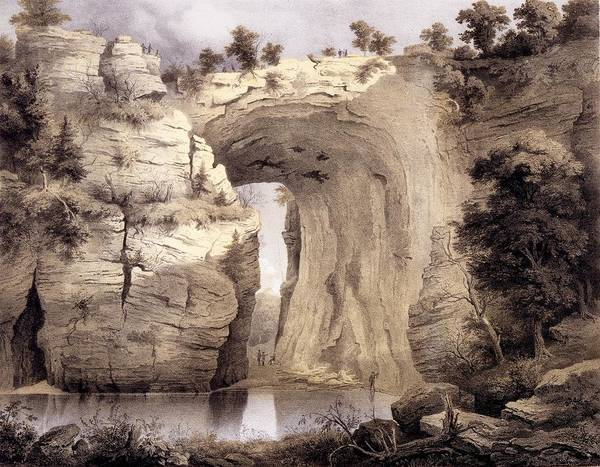 Virginia Poster featuring the drawing Natural Bridge, Rockbridge County by Edward Beyer