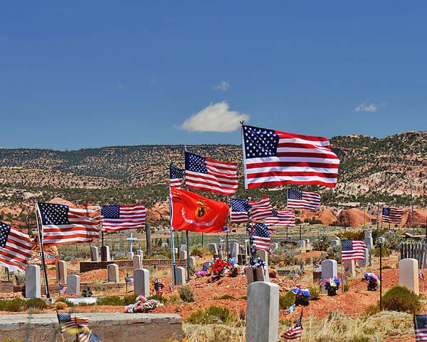 Navajo Poster featuring the photograph Navajo Veteran's Memorial Cemetery Tsehootsooi by Christine Till