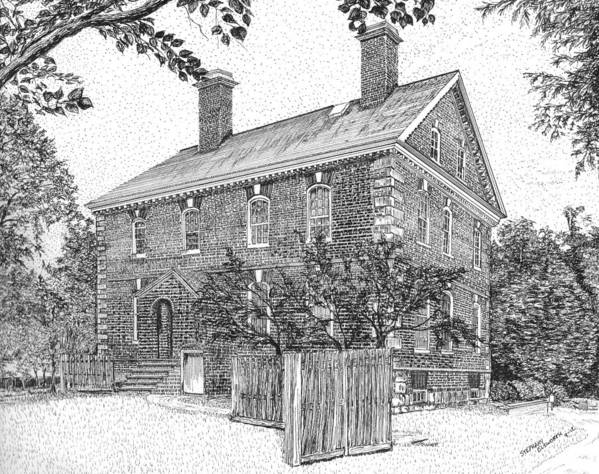 Nelson Poster featuring the drawing Nelson House In Yorktown Virginia IIi Of IIi by Stephany Elsworth