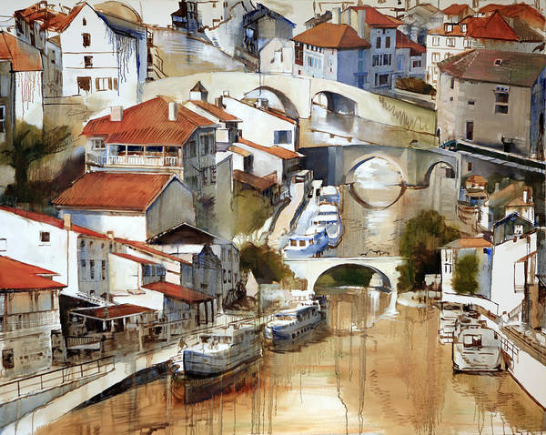 Landscape Poster featuring the painting Nerac France by Shirley Peters