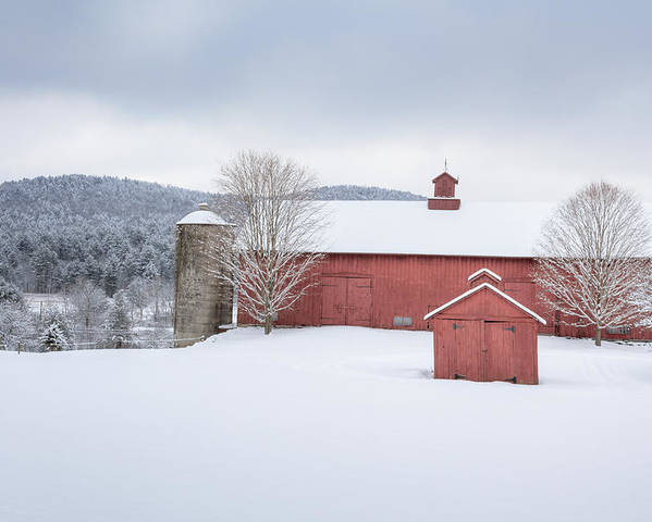 Old Red Barn Poster featuring the photograph New England Barns by Bill Wakeley