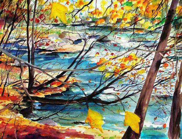 New England Poster featuring the painting New England Leaves Along The River by Scott Nelson