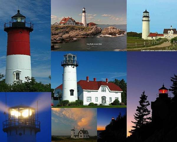 Lighthouse Poster featuring the photograph New England Lighthouse Collection by Juergen Roth