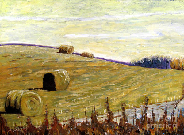 Landscape Poster featuring the painting New Haybales by Charlie Spear