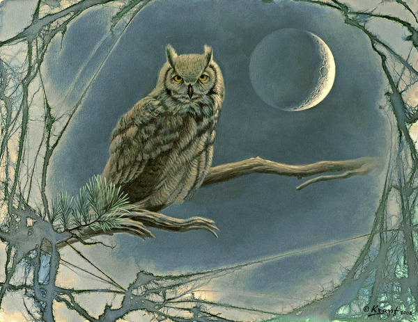 Wildlife Poster featuring the painting New Moon  by Paul Krapf