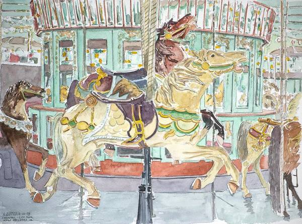 Merry-go-round Poster featuring the painting New Orleans Carousel by Anthony Butera
