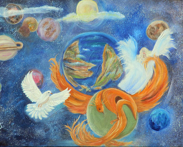 Planets Poster featuring the painting New World by Mikki Alhart