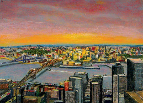 Cityscape Poster featuring the painting New York 38 by Karin Batten