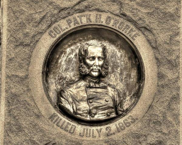 Civil War Poster featuring the photograph New York At Gettysburg - 140th Ny Volunteer Infantry Little Round Top Colonel Patrick O' Rorke by Michael Mazaika