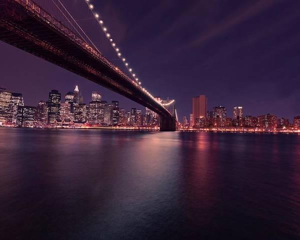 Brooklyn Bridge Poster featuring the photograph New York Brooklyn Bridge At Night by David Dehner