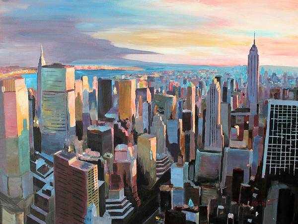 New York City Poster featuring the painting New York City - Manhattan Skyline In Warm Sunlight by M Bleichner