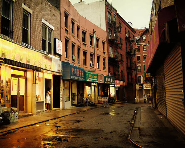 New York City Poster featuring the photograph New York City - Rainy Afternoon - Doyers Street by Vivienne Gucwa