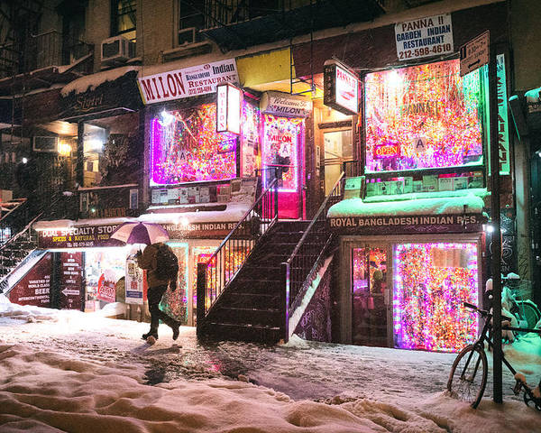 Snow Poster featuring the photograph New York City - Snow And Colorful Lights At Night by Vivienne Gucwa