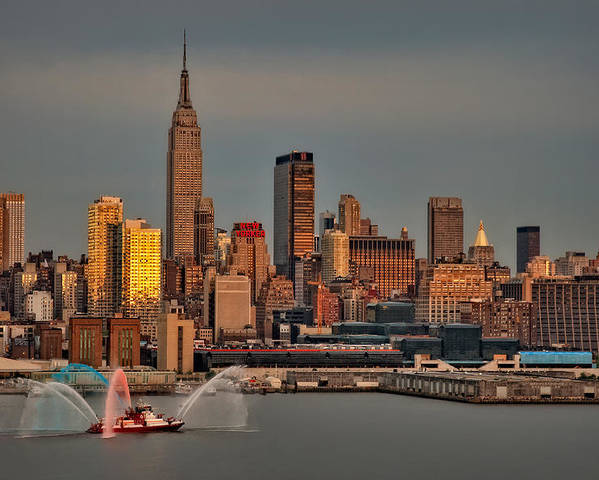 Nyc Poster featuring the photograph New York City Sundown On The 4th by Susan Candelario